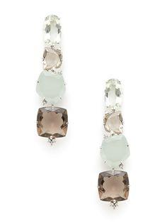 Murion Quartz & Milky Aquamarine Linear Earrings by Vianna at Gilt