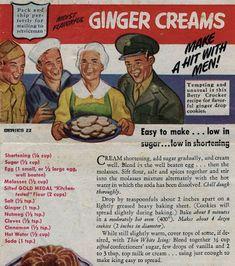 Bygone Food and Recipes: Ginger Creams (wacky cake mom) Retro Recipes, Old Recipes, Vintage Recipes, Cookbook Recipes, Cookie Recipes, 1950s Recipes, War Recipe, Recipe Box, Wartime Recipes