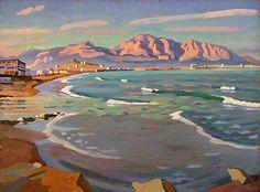 Massif de Marseilleveyre vu de la Corniche-Huile sur isorel (81x60 cm)- Edmond Astruc
