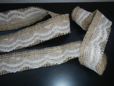 Burlap and Lace Ribbon, Frayed Burlap and Lace Ribbon, Use for Wedding, Shower, Party, Home Decor, Crafting From Etsy Burlap Ribbon, Lace Ribbon, Rustic Tea Party, Shower Party, Bridal Shower, Baby Shower, Shabby Chic Christmas Decorations, Theme Ideas, Party Ideas