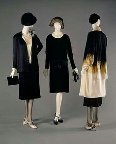 Coco Chanel.1920 Costuming: brassiers, panties, Cloche hats, daytime dress, tailored suit, mary jane shoes, shorter skirts, jacket.