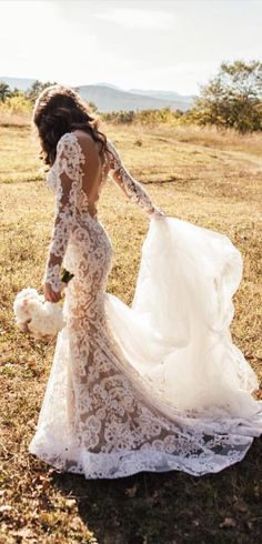 Long sleeve lace Wedding Dress by @bertabridal