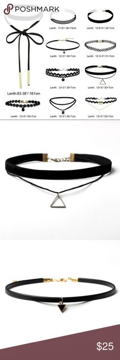 Gorgeous set of 10 stylish chokers!  10 beautiful, trendy black chokers. You don't want to miss out on this steal! ⚡️ Jewelry Necklaces