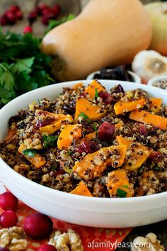 Butternut Squash with Rainbow Quinoa - A delicious and healthy salad or meatless Monday main dish.  Great combination of flavors and textures in this salad!