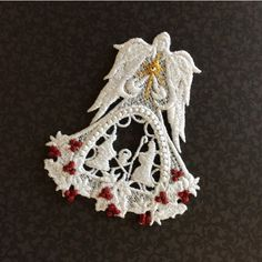 Lace Angel, Christmas Angel, Nativity Angel, Angel Ornament, Angel... (€5,54) ❤ liked on Polyvore featuring home, home decor, holiday decorations, star ornaments, metallic home decor, red home accessories, angel ornaments and swarovski crystal ornaments
