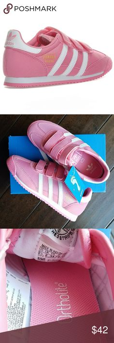 Adidas Dragons Pink ♡ New in box ♡ Gorgeous pink Adidas Dragons ♡ Box says 3, but they are size 2.5 according to the label inside  ♡ Bundle with another listing for a private discount and maximize on shipping! adidas Shoes Sneakers