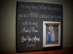 Sisters Wedding Picture Frame Maid of Honor by YourPictureStory, $70.00