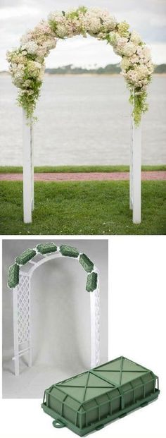 Wedding Arch Flowers - Foam Cages for Arch Flowers Free Tutorials http://www.wedding-flowers-and-reception-ideas.com/make-your-own-wedding.html Learn how to make bridal bouquets, corsages, boutonnieres, reception table centerpieces and church decorations. Buy wholesale fresh flowers and discount florist supplies. #weddingreceptiondecorations #weddingflowers