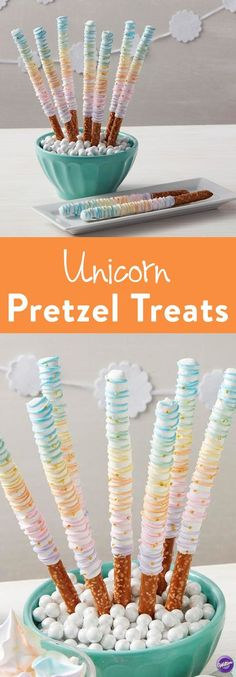 Rainbow Unicorn Pretzel Treats - Wands and swords have nothing on these Candy Dipped Pretzel Rainbow Treats! Pretzel rods get a magical makeover with Candy Melts candy and Gold Stars Edible Accents. Perfect for princess parties and fairy tale themed birth Party Unicorn, Unicorn Birthday Parties, First Birthday Parties, Birthday Party Themes, 2nd Birthday, First Birthdays, Birthday Ideas, Golden Birthday, Sweets
