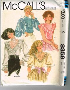 Vintage McCall's 8358 pattern for LACE LACY TOPS Sz 12 ~ Uncut Pattern