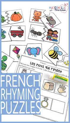 French rhyming puzzles - use this French rhyming activity as a literacy centre or guided reading warm up. Students will find the rhyming words and put them together. Includes three sets of puzzles, and each set includes 12 different puzzle designs, making Kindergarten Centers, Kindergarten Reading, Literacy Centers, Rhyming Activities, Language Activities, Ryming Words, Teaching French Immersion, Spanish Immersion, French Lessons