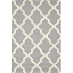 £213 182x274cm Bessia Wool Rug in Silver & Ivory