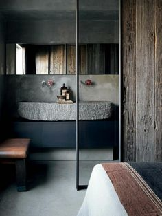 rustikal holz stein waschbecken glastür badezimmer badmöbel