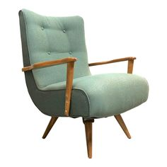 Extremely curvy and comfortable Mid Century Century swivel rocker in vintage style upholstery. Wood has been expertly refinished. Mid Century Modern Armchair, Mid Century Modern Bedroom, Mid Century Chair, Diy Chair, Chair And Ottoman, Swivel Chair, High Back Armchair, Art Deco Furniture, Modern Materials