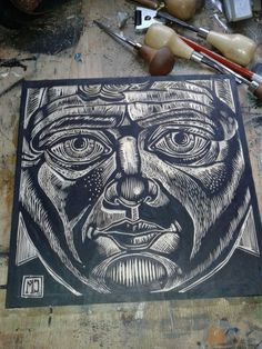 first woodcut head study.not printed yet