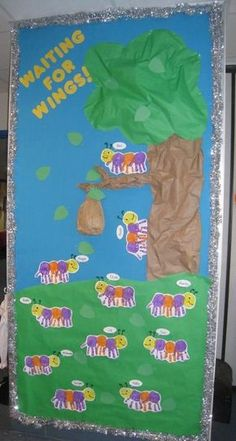 Waiting For Wings! & Spring Bulletin Board Checkout this great post on Bulletin Board Ideas! p Checkout this great post on Bulletin Board Ideas Waiting For Wings Spring Bulletin Board Checkout this great post on Bulletin Board Ideas p Kindergarten Classroom Door, Toddler Classroom, Art Classroom, Classroom Ideas, Spring Bulletin Boards, Preschool Bulletin Boards, Bullentin Boards, April Bulletin Board Ideas, Door Decoration For Preschool