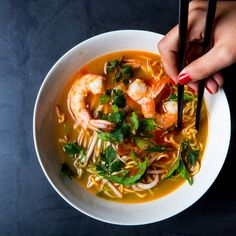 Aromatic Shrimp and Noodle Medicine Soup   A highly seasoned broth and robust cashew purée add layered flavor to this warming soup.