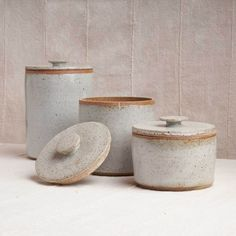 Lidded Canisters, Set of 3 — Housework Ceramic Canister Set, Ceramic Jars, Slab Pottery, Ceramic Pottery, Pottery Vase, Sculpture Clay, Ceramic Sculptures, Wheel Thrown Pottery, Pottery Designs