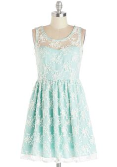 Lily of the Valley Dress in Mint - Sheer, Woven, Mid-length, Mint, White, Lace, Daytime Party, Bridesmaid, A-line, Tank top (2 thick straps)...