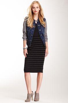 Stripe Midi Pencil Skirt