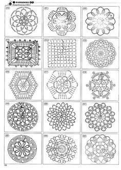 A gajillion crochet motifs Crochet Motif Patterns, Crochet Diagram, Crochet Chart, Crochet Squares, Crochet Granny, Granny Pattern, Crochet Diy, Thread Crochet, Crochet Doilies