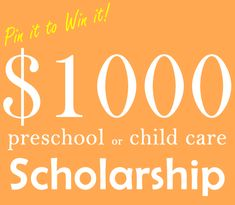 MomTrusted.com $ 1000 Preschool or Child Care Scholarship Pin it to Win it Contest!  See contest page for entry details. #momtrustedscholarship