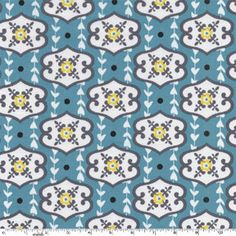 "Michael Miller Cotton Fabric ""Walpaper"" Turquoise by HouseOfJdawn on Etsy"