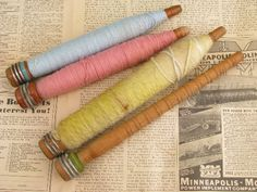 Photo of old antique vintage wood knitting mill spindle spool lot, large spools #1