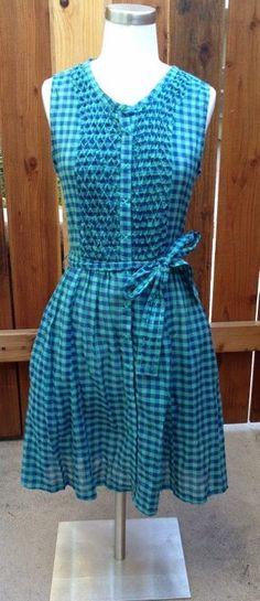 LinQ Los Angeles Blue & Green Plaid Checks Embroidered Summer Dress Sz S #linQ #ShirtDress #Casual