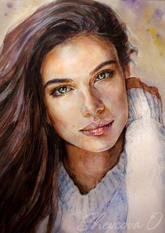 Watercolor Olga She Watercolor Portrait Tutorial, Watercolor Art Face, Watercolor Portraits, Portrait Sketches, Portrait Art, Amazing Drawings, Face Art, Artwork, Watercolors