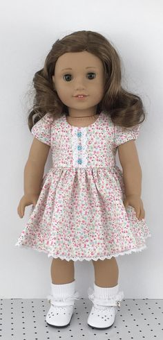 18 doll mini floral print dress and aqua hair ribbon Sewing Doll Clothes, Sewing Dolls, Girl Doll Clothes, Doll Clothes Patterns, Girl Dolls, Doll Patterns, Ag Dolls, American Girl Dress, American Girl Crafts