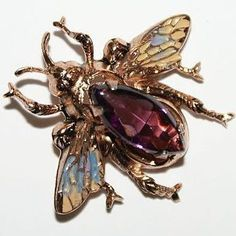 Sterling Coro Faux Amethyst Enamel Fly Pin Brooch 1940's, Exclusively on Ruby Lane