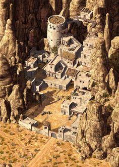 Inspiration for the fantasy world of Primeval Thule. Desert mode of Northern garrison, known as Dark lurk Fantasy City, Fantasy Castle, Fantasy Places, Fantasy Setting, Fantasy Landscape, Medieval Fantasy, Sci Fi Fantasy, Fantasy World, Dark Sun