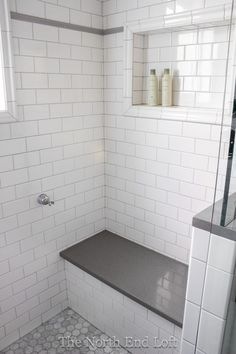 We chose shiny white subway tile with light gray grout for the walls, with an accent line of gray tile. We chose shiny white subway tile with light gray grout for the walls, with an accent line of gray tile. Upstairs Bathrooms, Downstairs Bathroom, Bathroom Renos, Laundry In Bathroom, Bathroom Renovations, Bathroom Canvas, White Tile Bathrooms, Remodled Bathrooms, Bathroom Storage