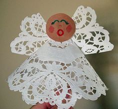 Kids will love making this pretty angel to display on the holiday table or hang on the Christmas tree. She even makes a dainty puppet!