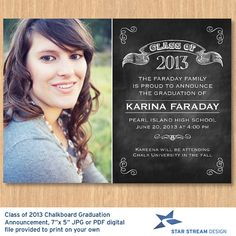 Black Board Graduation Announcement w3 Photo on the back 205