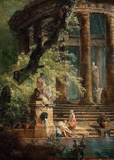 Hubert Robert: The Bassin (detail) - - Old Paintings, Beautiful Paintings, Greek Paintings, Paintings Famous, Famous Artists, Rennaissance Art, Renaissance Paintings, Fairytale Art, Wow Art