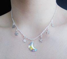 holographic moon necklace  pastel goth  grunge  by OfStarsAndWine