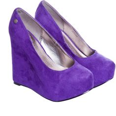 Blink Purple Wedges ($64) ❤ liked on Polyvore