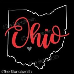 Ohio stencil state outline home shape pride - Beauty Black Pins