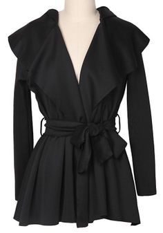 Love....Love...Love this! Black Belt Pleated Long Sleeve Polyester Trench Coat #black #trench_coat #fashion
