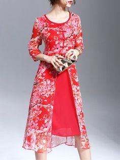 Red Floral-print Casual Midi Dress