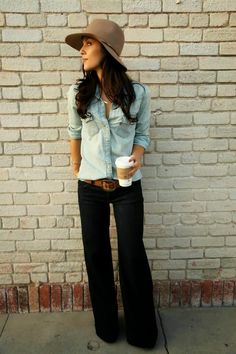 Chambray, Wide Leg Jeans, Camel Hat