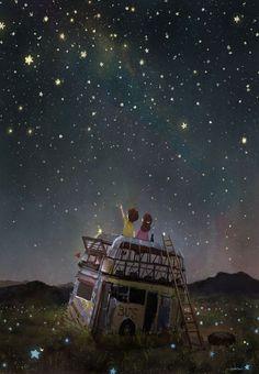 Jigsaw Puzzle Star Flower Prayer illustration Hobby Home Decoration Galaxy Wallpaper, Wallpaper Backgrounds, Jolie Photo, Anime Scenery, Moon Art, Cartoon Wallpaper, Aesthetic Art, Night Skies, Cute Wallpapers