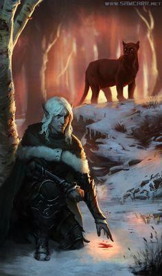 m Drow Elf Ranger Med Armor Cloak Black Panther Deciduous forest Hills winter snow night Drizzt Do'Urden and Guenhwyvar by ~SamC-Art on deviantART Fantasy Images, Fantasy Rpg, Dark Fantasy Art, Fantasy Artwork, Fantasy World, Drizzt Do Urden, Elf Ranger, Samurai, Fantasy Portraits