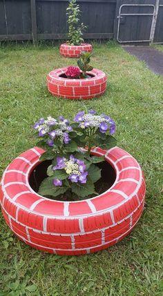 Tire Garden, Garden Yard Ideas, Diy Garden Projects, Easy Garden, Garden Crafts, Diy Garden Decor, Garden Art, Garden Design, Tire Craft