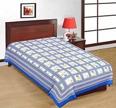 Odishabazaar Sanganeri Printed Cotton Single Bedsheet Bedcover in Blue Odishabazaar http://www.amazon.com/dp/B01CYA657U/ref=cm_sw_r_pi_dp_8uQ5wb1HNVST5