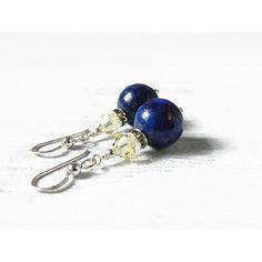 Blue Lapis Earrings Lapis Lazuli Earrings Dark Blue Earrings Lemon... ($34) ❤ liked on Polyvore featuring jewelry, earrings, swarovski crystal jewellery, lemon earrings, sterling silver earrings, blue jewelry and earring jewelry