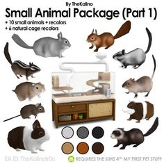 Small Animal Package and Recolors Download: Simfileshare Includes: • 10 new animals with recolors • Squrriel, Chipmunk, Sugar Glider, Degu, Steppe Lemming, Chinchilla, Bunny, Guinea Pig, Gerbil,...