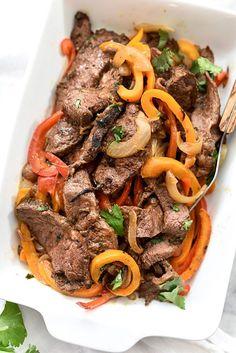 The Best Steak Fajitas on foodiecrush.com